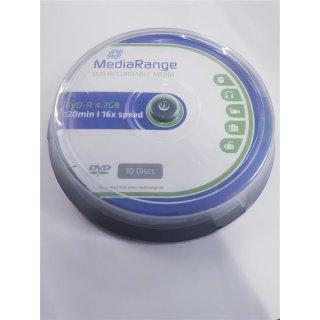 Mediarange 10 X Dvd-r 4.7 Gb 120 Min. 16x Spindel (mr452)